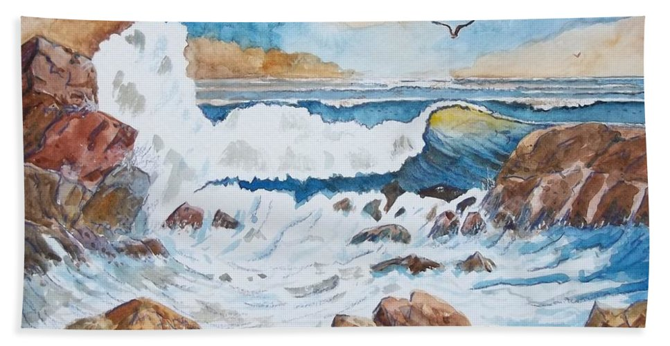 Landscape Bath Sheet featuring the mixed media To Rough For Fishing by Don Hand