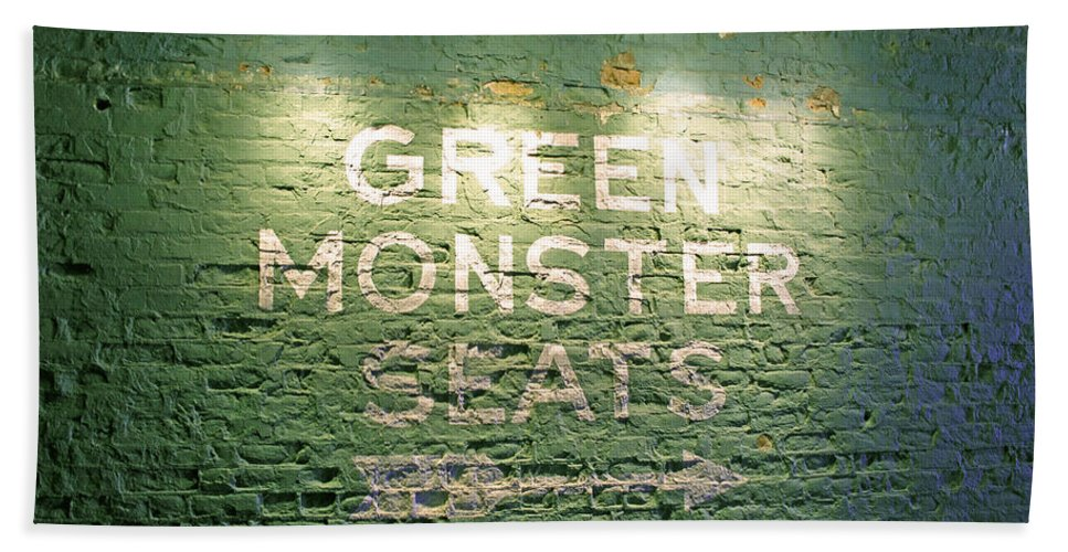 Sign Bath Towel featuring the photograph To The Green Monster Seats by Barbara McDevitt