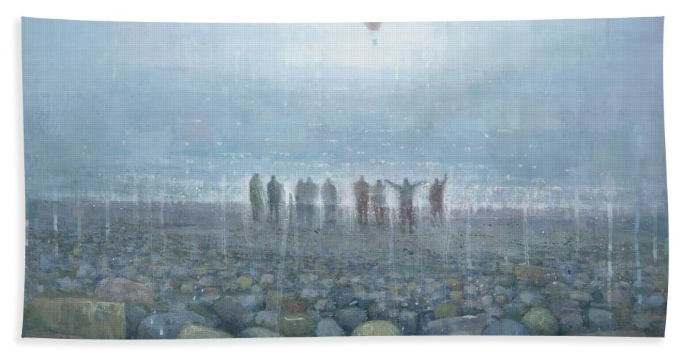 Original Hand Towel featuring the painting To The Mountains Of The Moon by Steve Mitchell