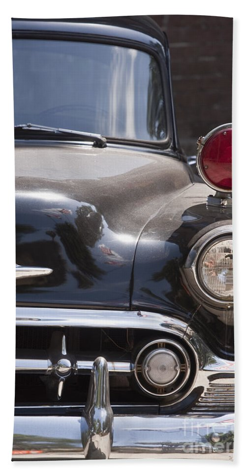 Antique; Car; Windows; Driving; Auto; Automobile; Automotive; Classic; Drive; Old; Front; Fender; Transportation; Vehicle; Vintage; Headlight; Chrome; Hood; Chevy; Chevrolet; Police; Red; Lights Bath Sheet featuring the photograph To The Right by Margie Hurwich