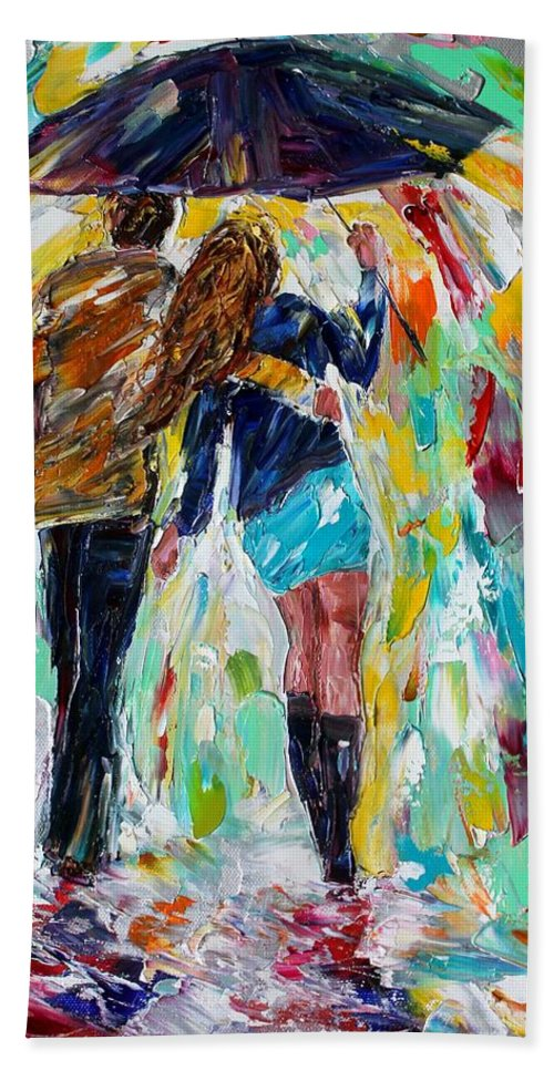 Rain Couple Bath Sheet featuring the painting Together In The Rain by Karen Tarlton