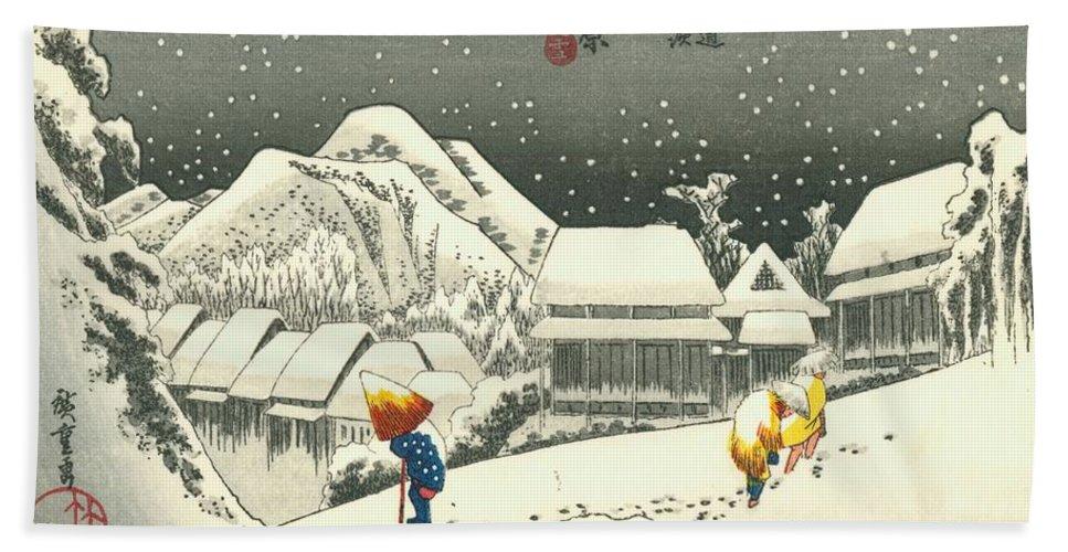 Tokaido Hand Towel featuring the painting Tokaido - Kanbara by Philip Ralley