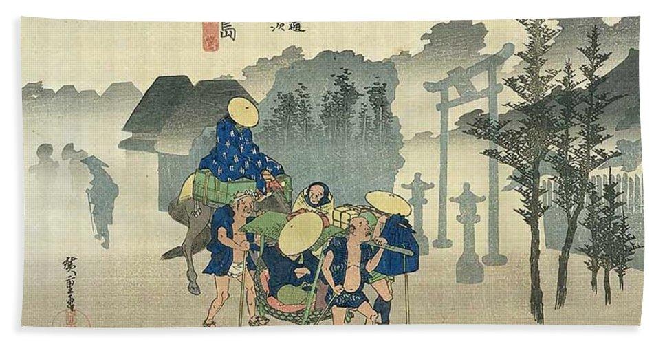 Tokaido Hand Towel featuring the painting Tokaido - Mishima by Philip Ralley