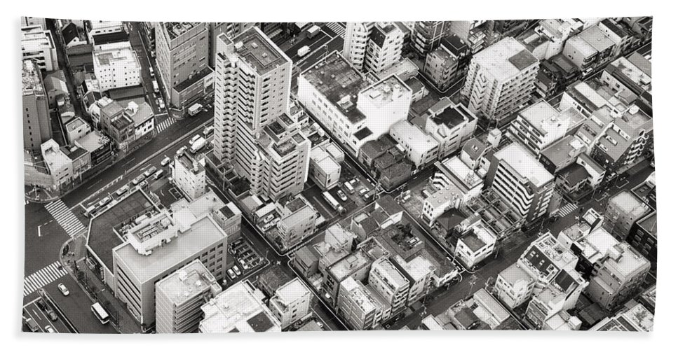 Skytree Hand Towel featuring the photograph Tokyo City Black And White by For Ninety One Days