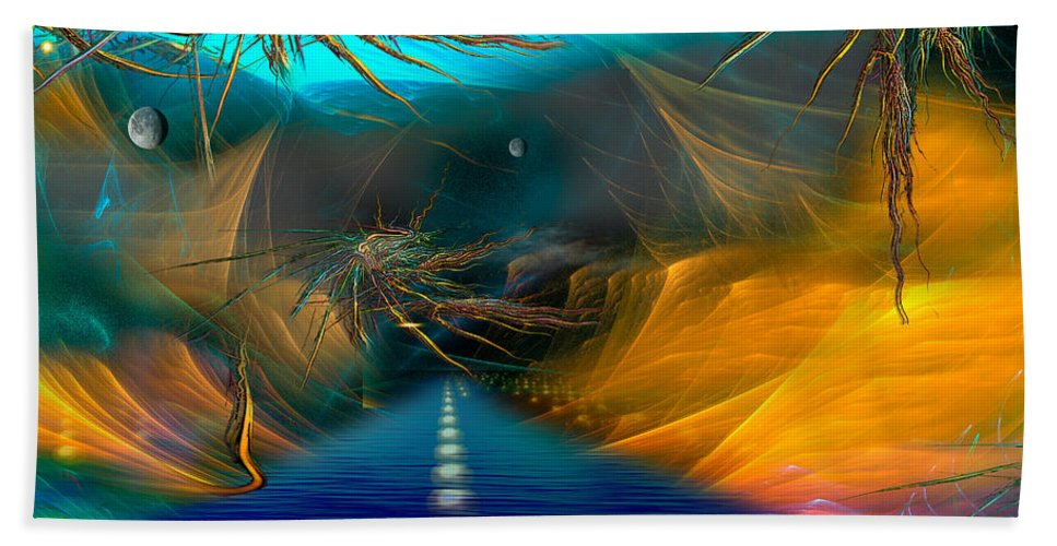 Phil Sadler Bath Sheet featuring the digital art Toll Road by Phil Sadler