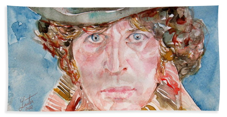 Tom Hand Towel featuring the painting Tom Baker Doctor Who Watercolor Portrait by Fabrizio Cassetta