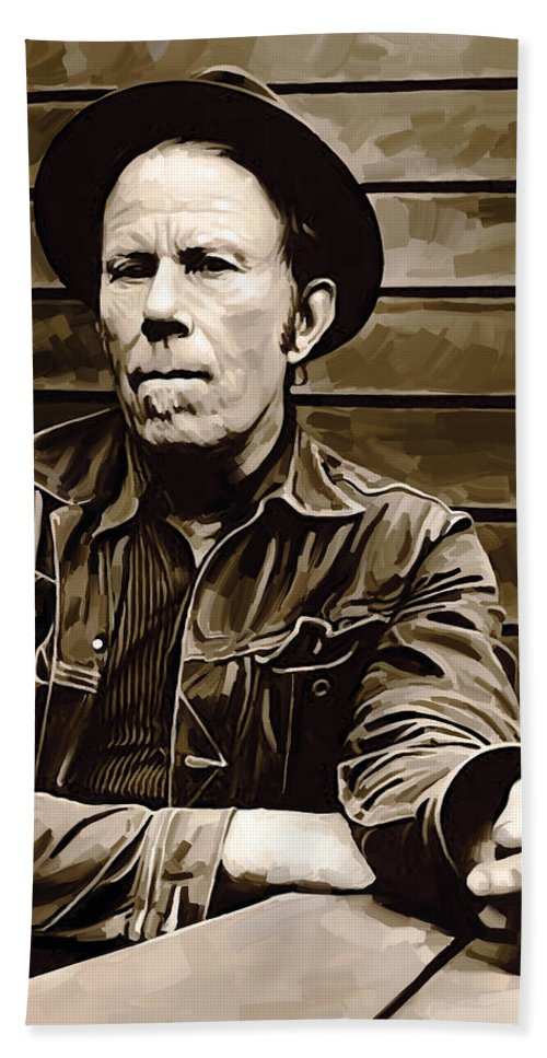 Tom Waits Paintings Hand Towel featuring the painting Tom Waits Artwork 2 by Sheraz A