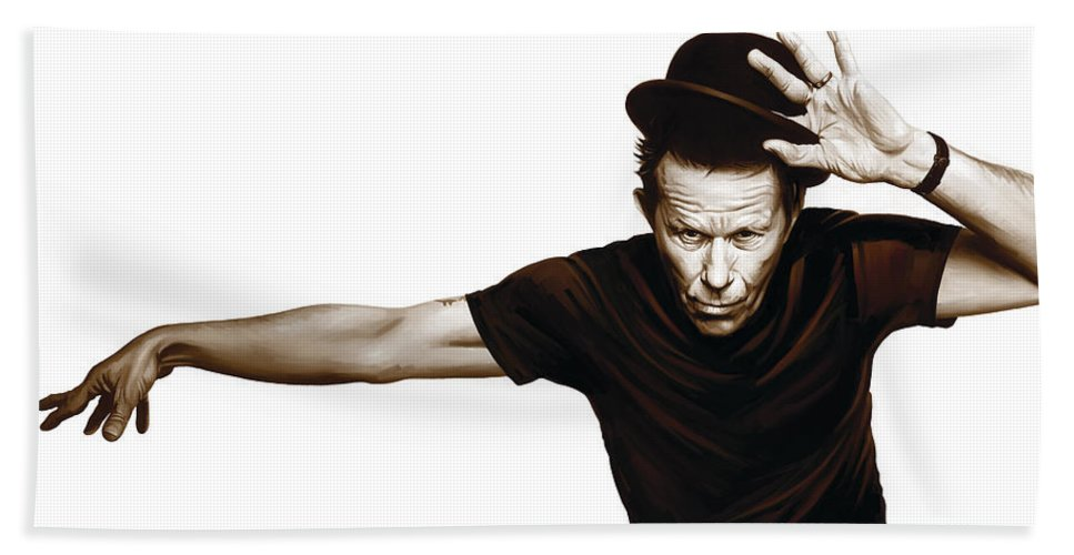 Tom Waits Paintings Hand Towel featuring the mixed media Tom Waits Artwork 4 by Sheraz A