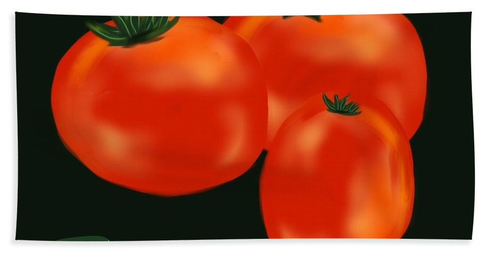 Tomatoes Bath Sheet featuring the digital art Tomatoes by Christine Fournier