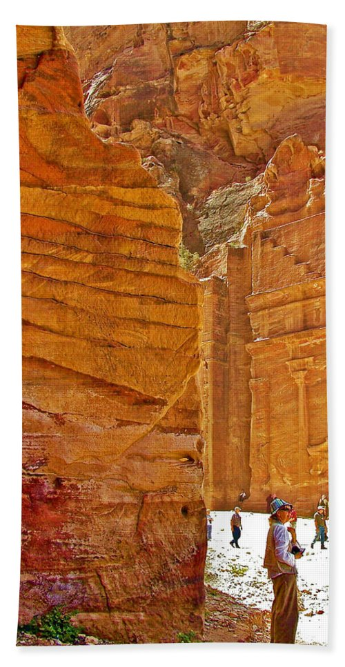 Tomb 67 In Petra Bath Sheet featuring the photograph Tomb 67 In Petra-jordan by Ruth Hager