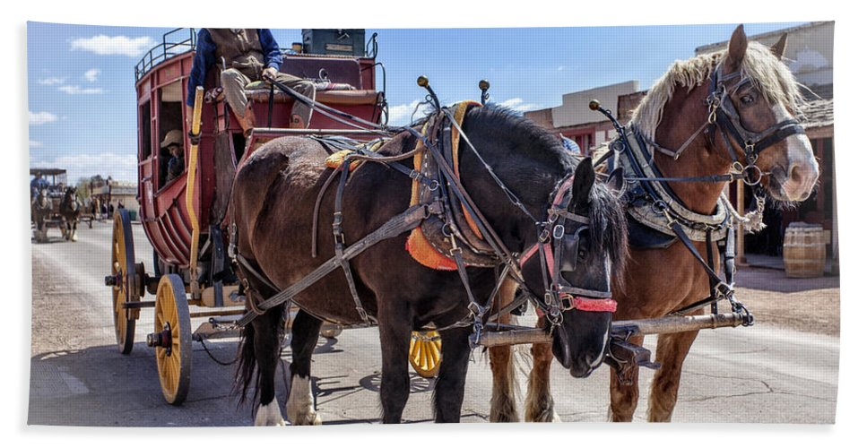 Tombstone Hand Towel featuring the photograph Tombstone Stagecoach 2 by Diana Powell