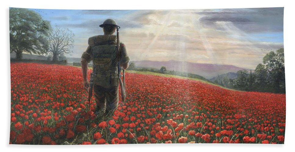 Landscape Hand Towel featuring the painting Tommy by Richard Harpum