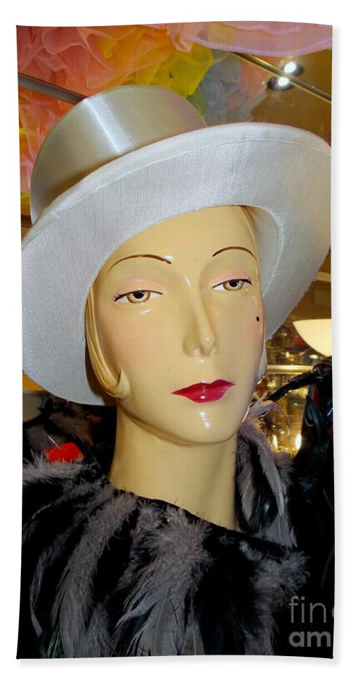 Mannequins Hand Towel featuring the photograph Top Hat Tallulah by Ed Weidman
