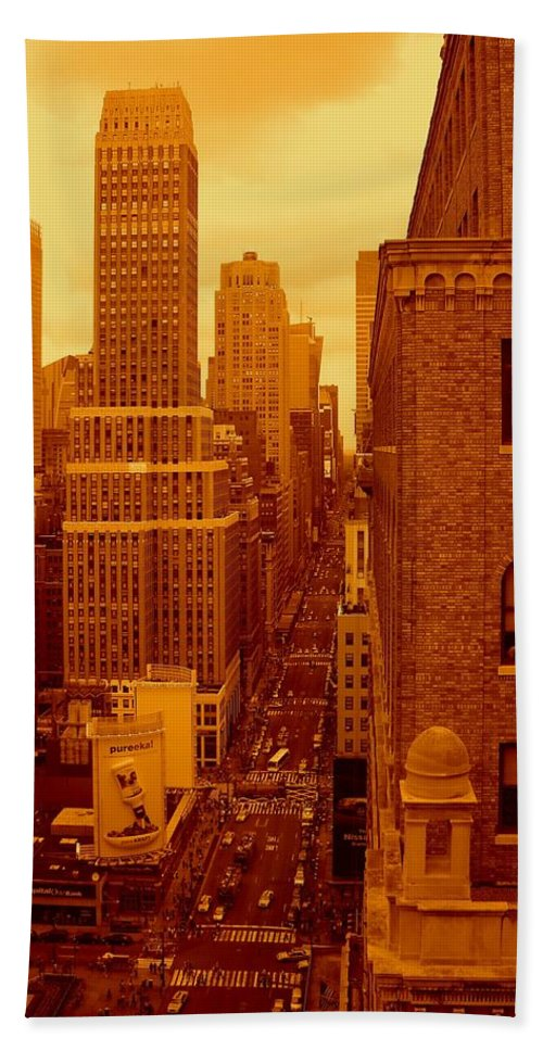 Manhattan Posters And Prints Bath Towel featuring the photograph Top Of Manhattan by Monique's Fine Art