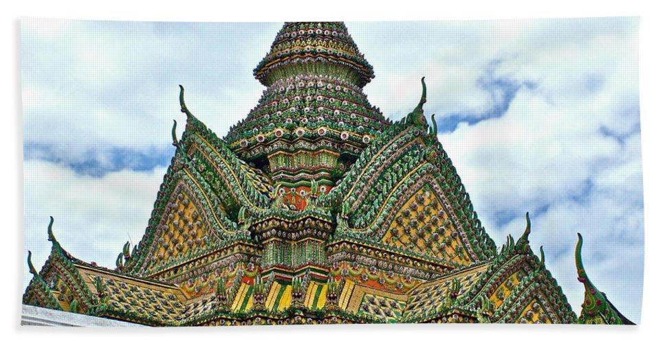 Top Of Temple In Wat Po In Bangkok Hand Towel featuring the photograph Top Of Temple In Wat Po In Bangkok-thailand by Ruth Hager