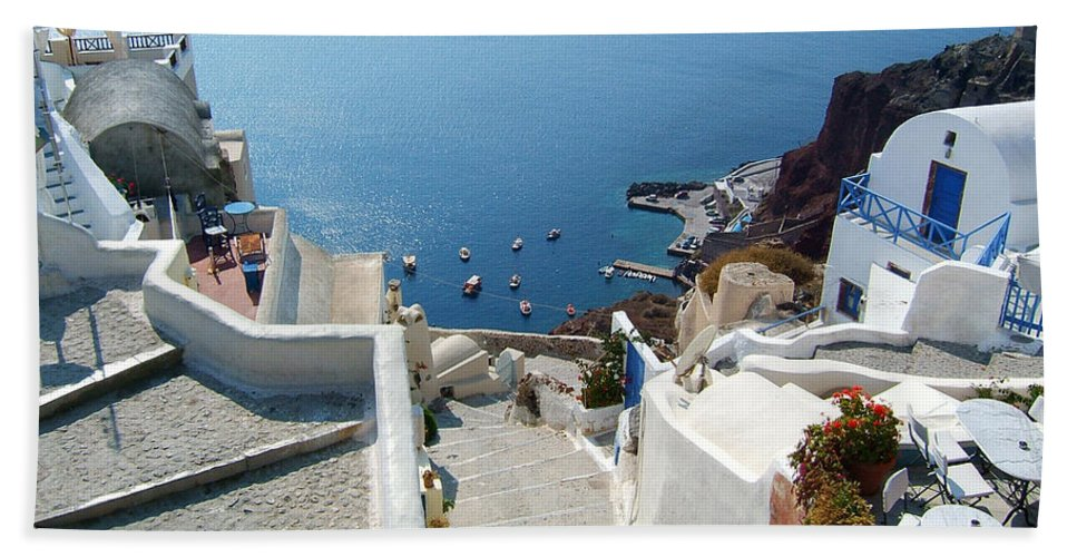 Greece Greek Islands Santorini Oia Landscape Stairway Cyclades Hand Towel featuring the photograph Top To Bottom by Brenda Salamone