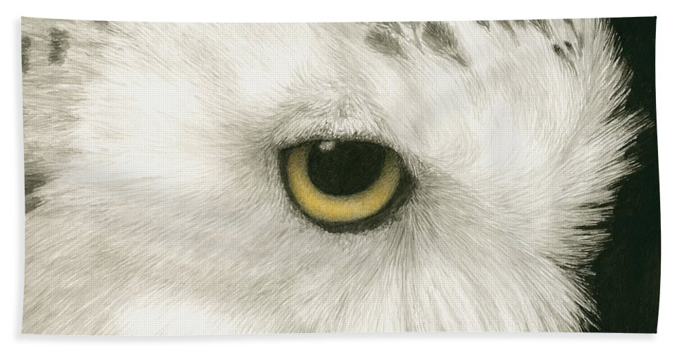 Owl Hand Towel featuring the painting Topaz In The Snow by Pat Erickson
