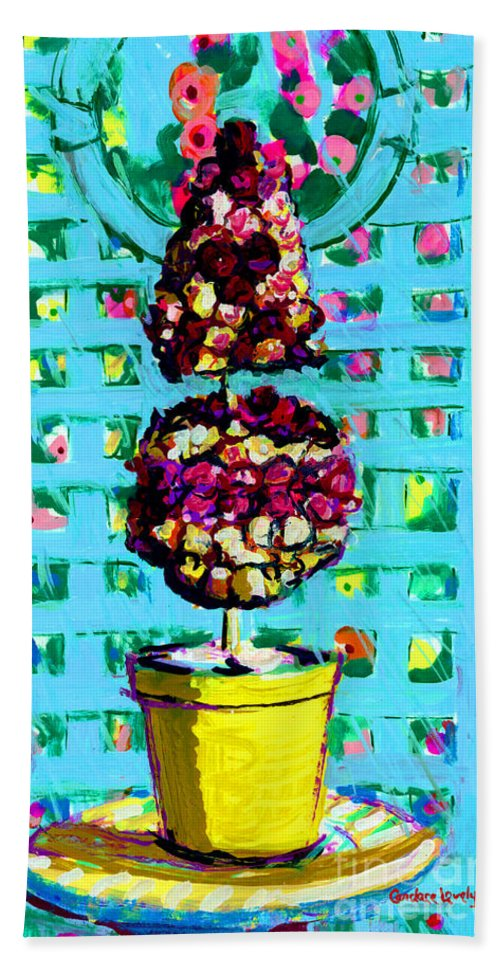 Roses Bath Sheet featuring the painting Topiary Of Dried Roses by Candace Lovely