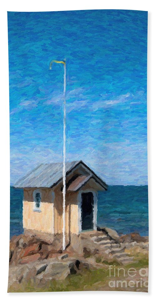 Painting Bath Sheet featuring the painting Torekov Beach Hut Painting by Antony McAulay
