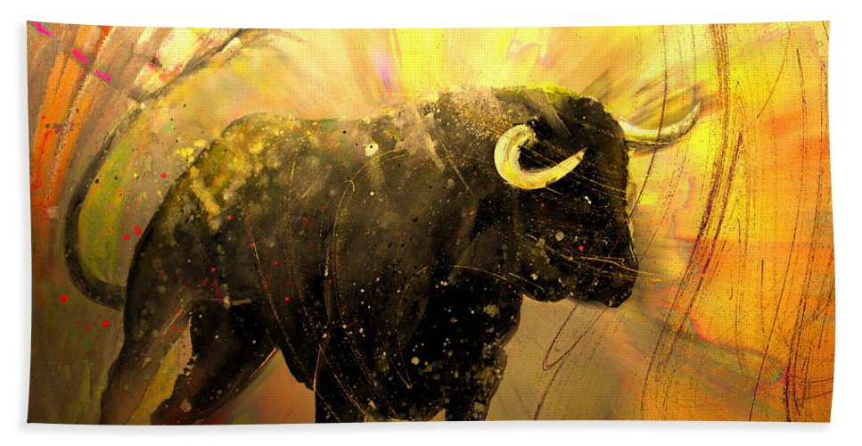 Animals Hand Towel featuring the painting Toro Solo 02 by Miki De Goodaboom