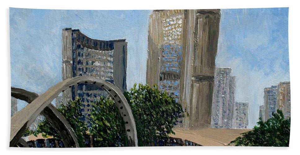 Toronto Hand Towel featuring the painting Toronto City Hall by Ian MacDonald