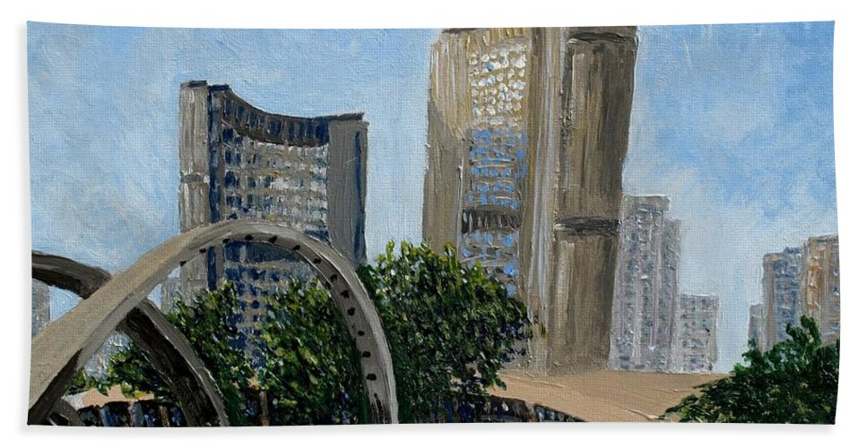 Toronto Bath Towel featuring the painting Toronto City Hall by Ian MacDonald