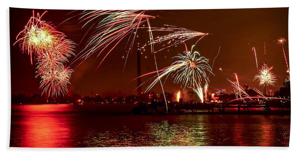 Toronto Bath Sheet featuring the photograph Toronto Fireworks by Elena Elisseeva
