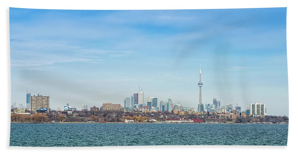 Photography Bath Sheet featuring the photograph Toronto Skylines At The Waterfront by Panoramic Images