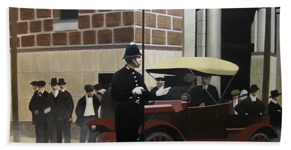 Streetscapes Bath Sheet featuring the painting Toronto Traffic Cop 1912 by Kenneth M Kirsch