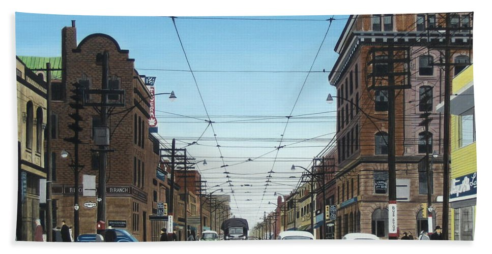 Streetscapes Bath Sheet featuring the painting Toronto Yonge And Bloor 1954 by Kenneth M Kirsch