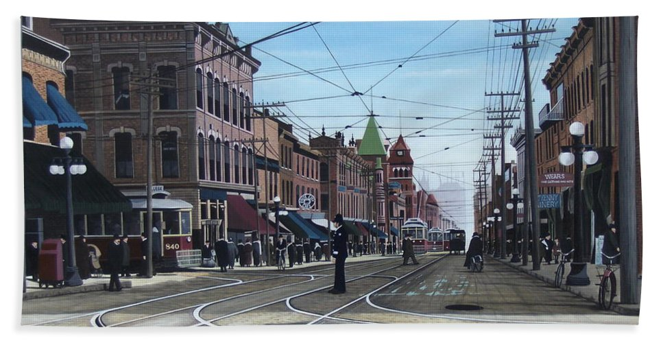 Streetscapes Bath Sheet featuring the painting Toronto Yonge And College 1916 by Kenneth M Kirsch