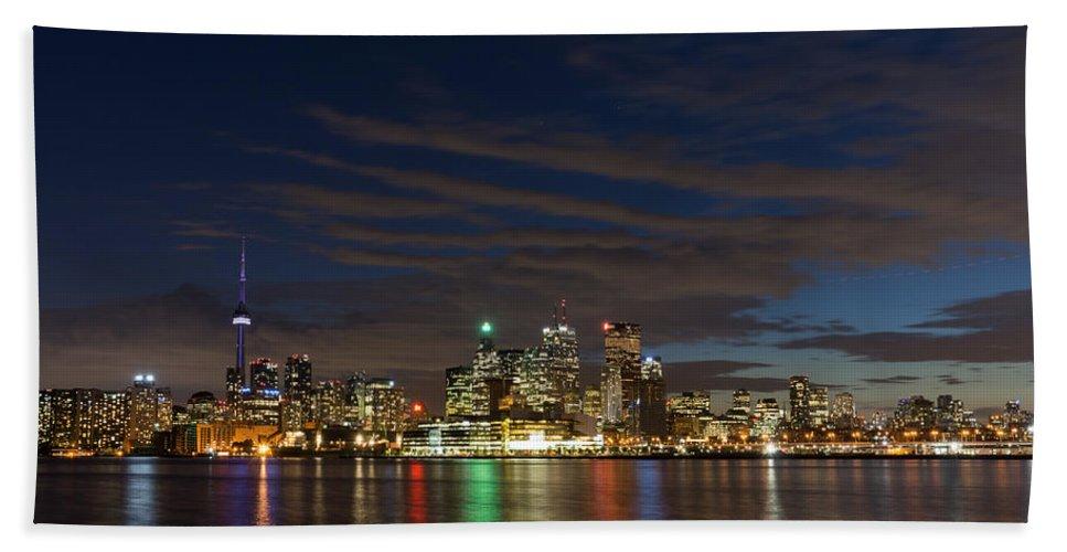 Toronto Bath Sheet featuring the photograph Toronto's Dazzling Skyline by Georgia Mizuleva