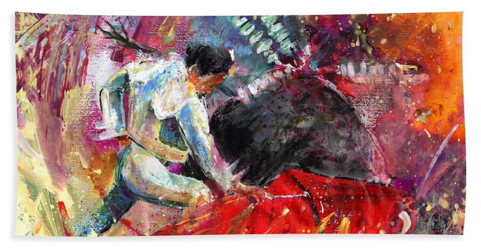 Culture Bath Sheet featuring the painting Toroscape 11 by Miki De Goodaboom
