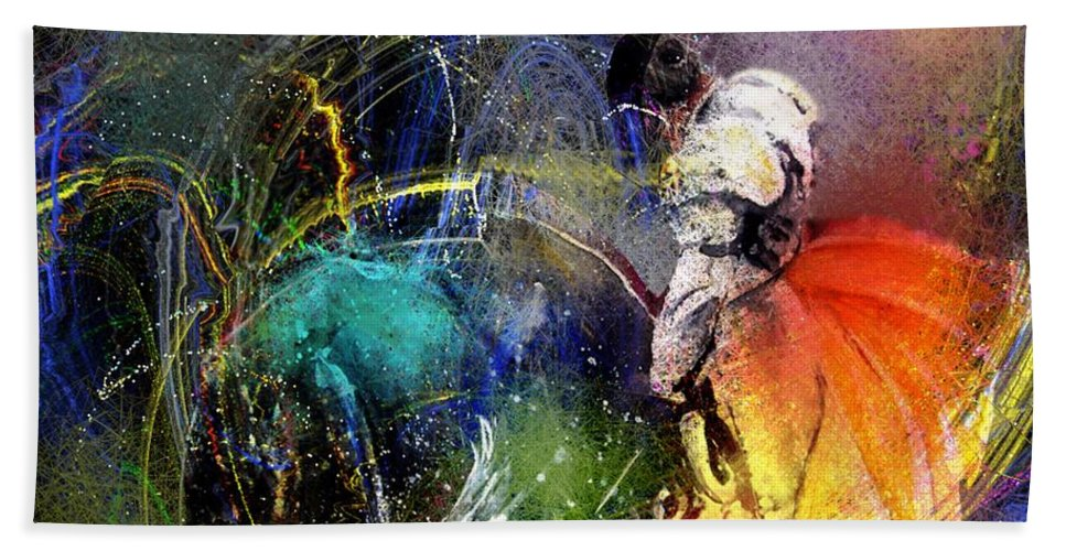 Bullfight Bath Towel featuring the painting Toroscape 20 by Miki De Goodaboom