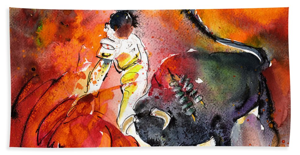 Culture Hand Towel featuring the painting Bullfighting The Reds by Miki De Goodaboom