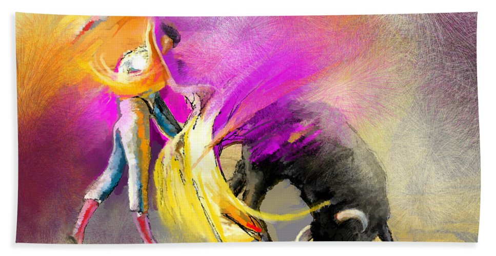 Bullfight Hand Towel featuring the painting Toroscape 52 Bis by Miki De Goodaboom