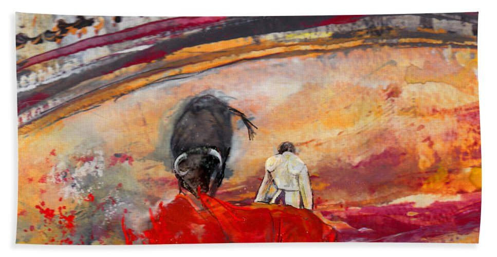Animals Hand Towel featuring the painting Toroscape 56 by Miki De Goodaboom