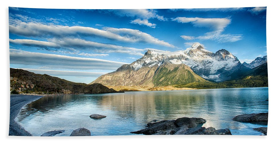 Patagonia Hand Towel featuring the photograph Torres Del Paine Park by Timothy Hacker