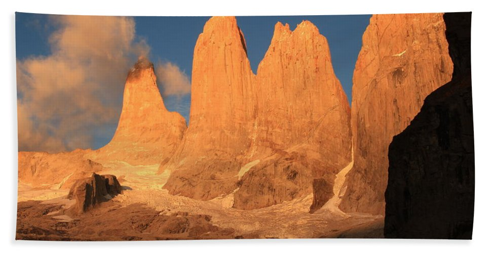 Torres Del Paine Bath Sheet featuring the photograph Torres Del Paine by Tom Broadhurst