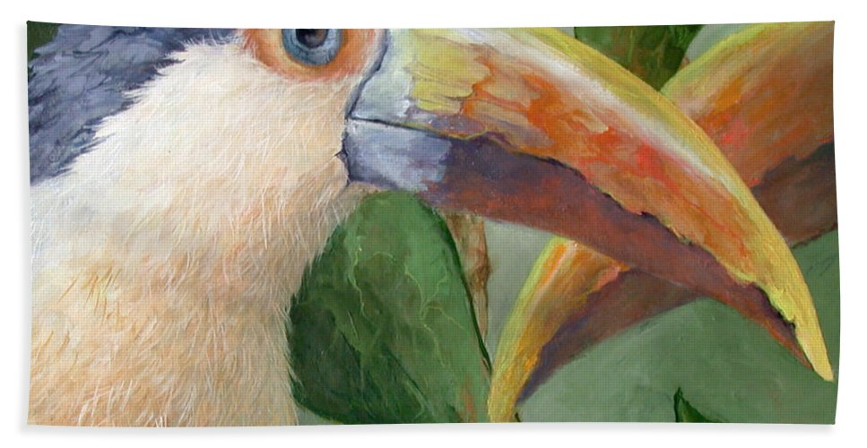 Toucan Wildlife Tropical Nature Birds Animals Rainforest South America Hand Towel featuring the painting Toucans by Mary Zins