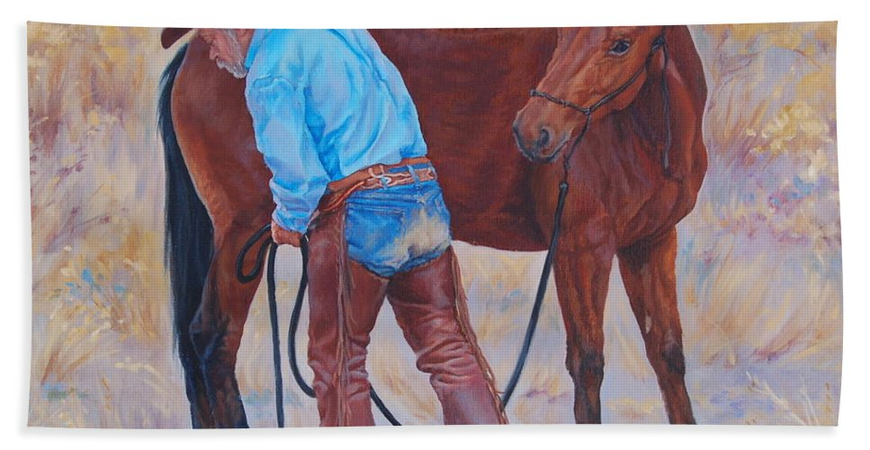 Western Hand Towel featuring the painting Turn About Is Fair Play by Christine Lytwynczuk