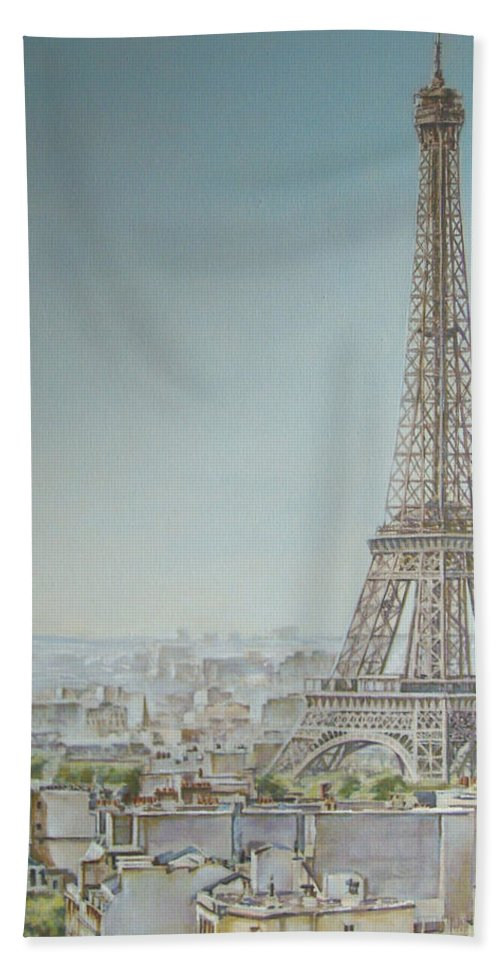 Eiffel Tower Tour Paris Painting Andy Lloyd Bath Sheet featuring the painting Tour Eiffel 1 by Andy Lloyd