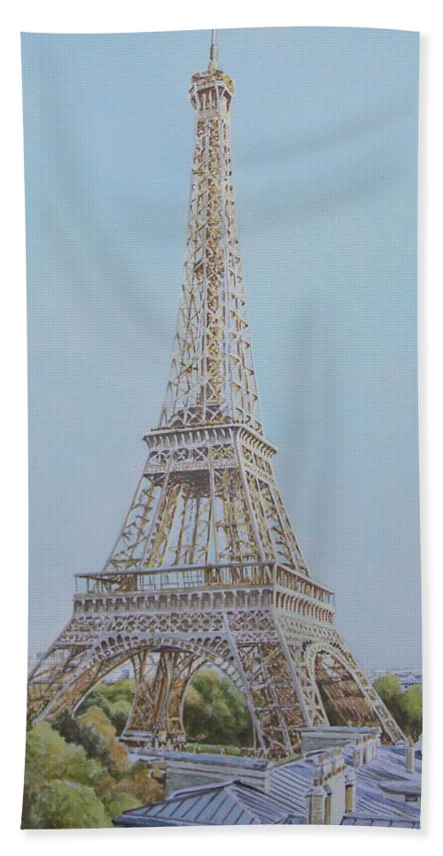 tour Eiffel Andy Lloyd Acrylic Painting Tour Paris Bath Sheet featuring the painting Tour Eiffel 3 by Andy Lloyd