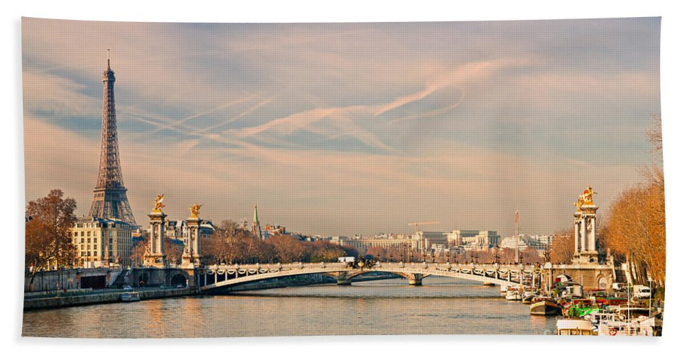 Above Bath Sheet featuring the photograph Tour Eiffel And Alexandre IIi Bridge - Paris by Luciano Mortula