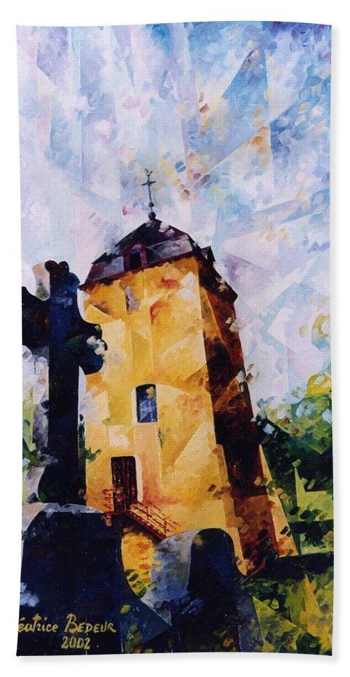 Landscape Hand Towel featuring the painting Tour Saint Martin by Beatrice BEDEUR