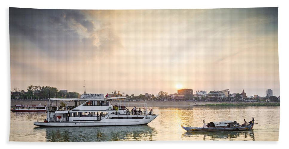 Boat Hand Towel featuring the photograph Tourist Boat On Sunset Cruise In Phnom Penh Cambodia River by Jacek Malipan