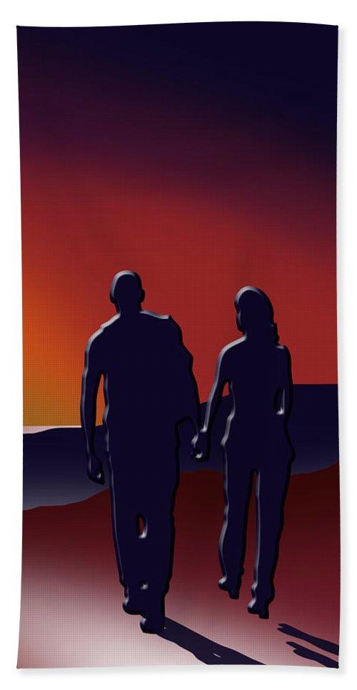 Sunset Bath Sheet featuring the digital art Toward The Light 3 Of 3 by Peter Stevenson