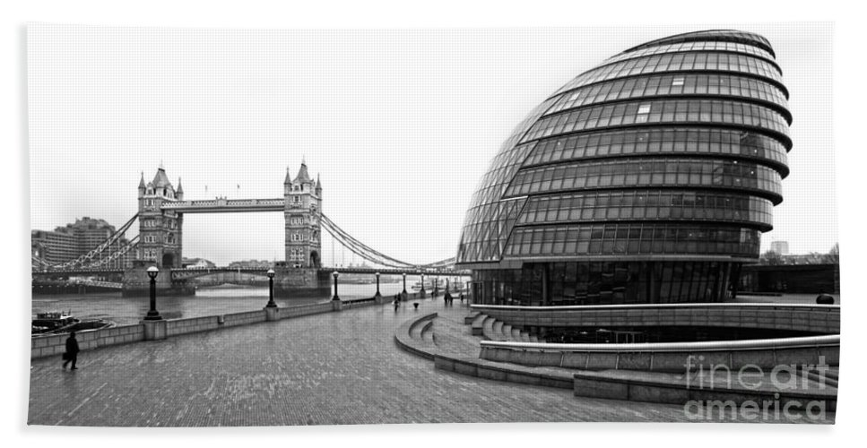 Architecture Bath Sheet featuring the photograph Tower Bridge And London City Hall - Uk by Luciano Mortula