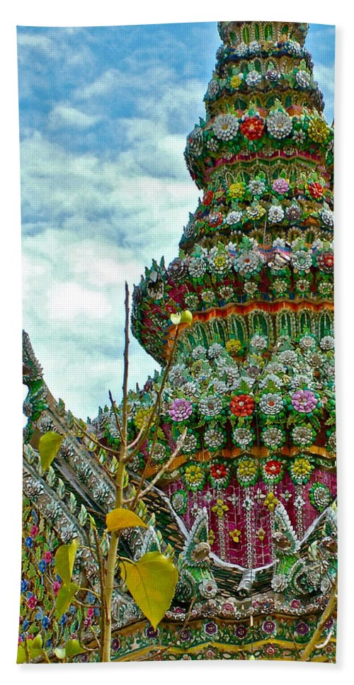 Tower Closeup Of Buddhist Temple At Grand Palace Of Thailand In Bangkok Hand Towel featuring the photograph Tower Closeup Of Buddhist Temple At Grand Palace Of Thailand by Ruth Hager