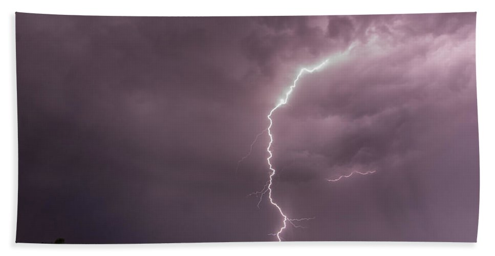 Lightning Bath Sheet featuring the photograph Towering Bolt by Paul Brooks